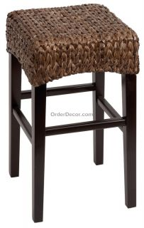 "24"" Brown Wood Wicker Counter Bar Stool Rush Seat"