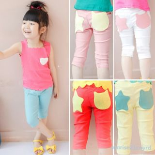 Baby Girls Stars Pattern Elasticity Trousers Kids Clothes Pants Leggings Sz 1 6Y