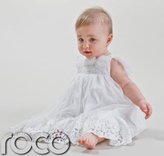 Baby Girls White Christening Dress Embroidered Flower Girl Dresses 0 24 Months