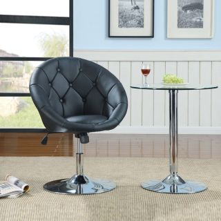 Contemporary Round Tufted Black Swivel Adjustable Air Lift Dining Chair Stool