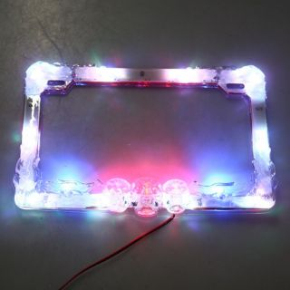 LED License Plate Flash Frame Motorcycle Car Colorful RGB Street Glow 12V 3W
