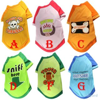 Summer Fashion Various Cute Pet Puppy Dog Clothes Cotton Printed T Shirt Apparel