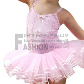Girl Kids Pink Ballet Dance Dress Costume Tutu Skirt Leotard Dancewear 3 6 Years