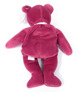 Candy Spelling's Beanie Baby Magenta New Face Teddy Bear 4056 1993 1st Gen Tush