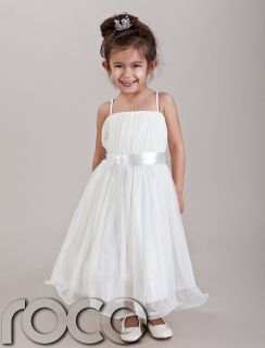 Baby Girls Ivory Hoop Dress Bridesmaid Prom Wedding Flower Girls Dresses