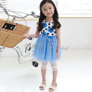 Girls Flower Floral Sleeveless Tulle Dress Skirt Kids Summer Costume 2 6 Years