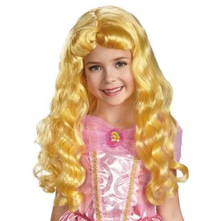 Child Movie Disney Princess Sleeping Beauty Aurora Long Yellow Hair Costume Wig