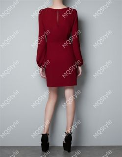 Women Fashion Sexy Round Neck Puff Long Sleeve Bodycon Mini Dress Red B3346MK