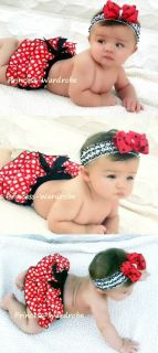 Baby Red Minnie Polka Dots Newborn Pantie Bloomer 6M 3Y