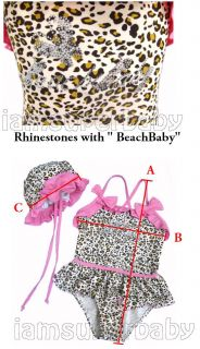 2 Pcs Toddler Baby Kid Girl Leopard Pink Frill Ruffle Swim Suit Swimwear Bikinis