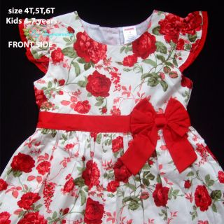 NWT Gymboree Floral Baby Girls White Dress Red Rose Flower, Kid 5 7 years