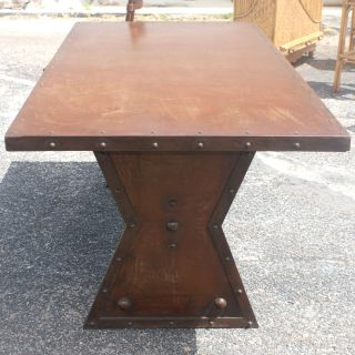 "72"" Industrial Machine Age French Steel Dining Table"