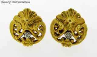 Antique 18K Gold Art Nouveau Gargoyle Face Diamonds Earrings
