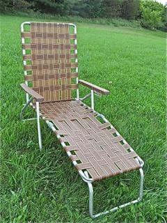 Vintage Aluminum Folding Webbed Lawn Chair Chaise Lounge