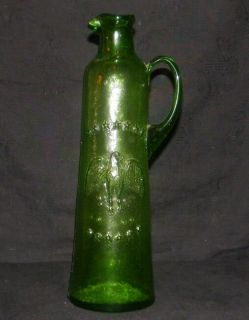 Antique Green Glass Eagle Bottle Jug Pitcher Decanter