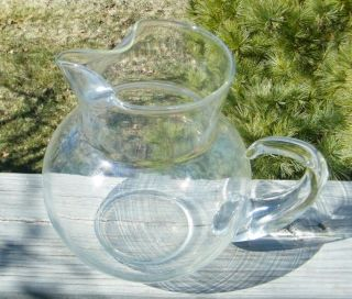 Antique Clear Depression Blown Glass 2 Qt Water Pitcher