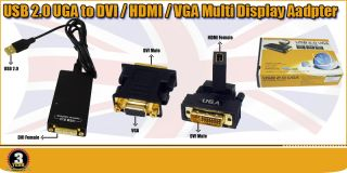 USB 2 0 UGA to DVI HDMI VGA Multi Video Displays Adapters for TV LCD PC CRT Gold
