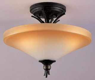 Imperial Bronze and Champagne Marble Glass Semi Flush Ceiling Light NIB