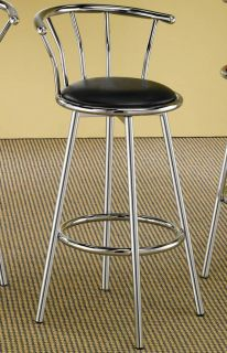 Retro Chrome Swivel Bar Stools with Black Cushion by Coaster 2244 Set of 2