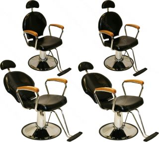 4 x All Purpose Hydraulic Oak Arms Reclining Barber Chair Beauty Salon Equipment