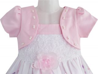 Baby Girls Dress 2 in 1 Pageant Shinning Pink Lace Holiday Wedding Kids Sz 12M 5