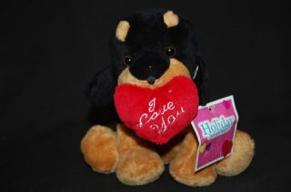 "8"" Red Valentine Heart I Love You Rottweiler Puppy Dog Stuffed Animal Toy"