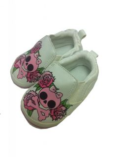 Baby Kids Cool Fashion Skull Shoes Bibs Tshirt Black White Navy Green Pink