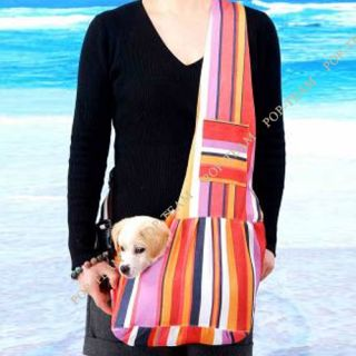 3 Colors Strip Oxford Cloth Sling Pet Dog Cat Shoulder Carrier Bag 3 Size T68