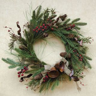 Woodland Holiday Christmas Wreath Long Needle Pine Branch Rustic Bell Burlap Bow