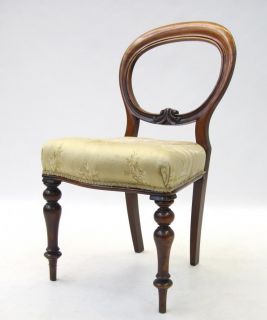 Antique Victorian Chair Balloon Back Chair Solid Mahogany Dining 19th Century