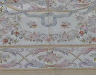8'x10' Hand Woven Musical Instrument Roses French Aubusson Flat Weave Rug New
