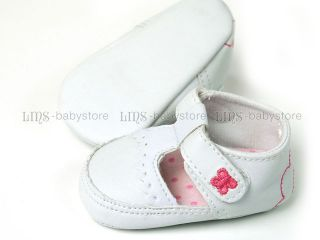 Newborn Infant Baby Girl White Mary Jane Dress Shoes A714