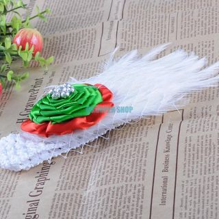 Gorgeous Soft Cute Baby Girl Feather Bowknot Flower Hairband Headband Accessory