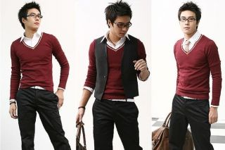2013 New Mens Premium Stylish Slim Fit V Neck Sweater Jumper Tops Cardigan B237