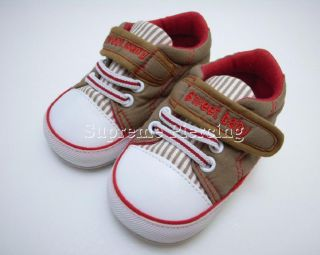 6 12 Months Soft Sole Baby Boy Girl Crib Leather Canvas Sneaker Toddler Shoes
