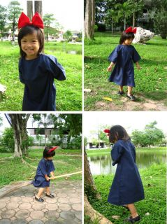 Kiki's Delivery Service Cosplay Kid Dress with Red Hair Band Cosplay Costume