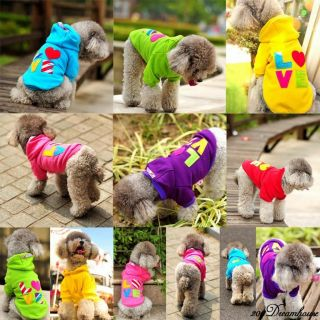 New Cute Quality Pet Circle Dog Pet Clothes 6 Colors Love Patch Dog Hoodie