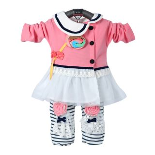 Cute Baby Girl Winter Fall Outfit Set Suit Dress Leggings Coat Outerwear Clothes