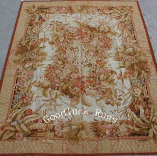 10'x14' Hand Woven Floral Rose Tropical Palm Wool French Aubusson Flat Weave Rug