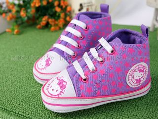 New Toddler Baby Girl Purple Kitty Cat High Top Shoes US Size 4 A980