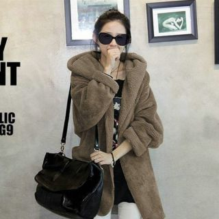Fashion Korean Women Hoodie Hooded Faux Fur Coat Warm Sweatshirts Jackets Coffee