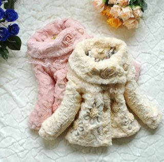 New Baby Girl Back Bow Faux Fur Lace Lapel Fleece Coat Applique Kids Warm Jacket