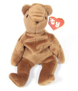 Candy Spelling's Beanie Baby Old Face Brown Teddy Bear 1993 1st Gen Tush Tag