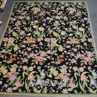 8'x10' Handmade French Floral Roses Wool Needlepoint Black Area Rug New