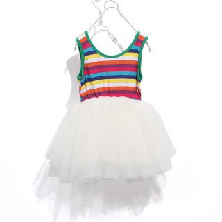 Baby Girl White Tutu Dress Party Petti Skirt Stripe Princess Ruffled Fluffy Bow