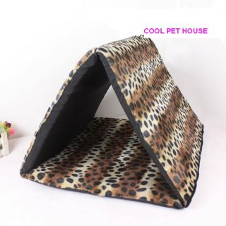 W09 New Sweet Pet Dog Cat Tent House Bed Leopard Triangle House