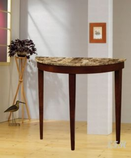 New Marble Print Top Cherry Wood Console Sofa Table