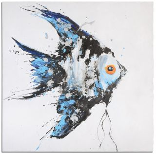 Blue Angel Fish Hand Painted Canvas XL Oversized Wall Hanging Art Home Decor New