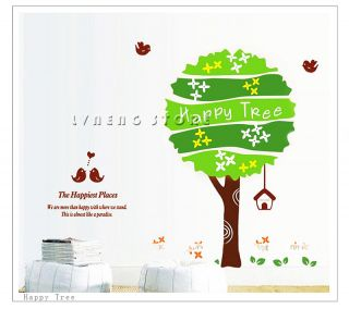 DIY Tree Wall Sticker Flying Bird Happy Place Home Decor Environmentally Decals