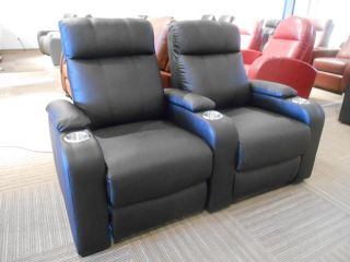 Seatcraft Row of 2 Black Seats Home Theater Seating Chairs 5131